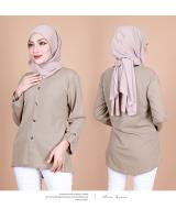 QA-857 - Stylish Long Sleeve Button Blouse Khaki