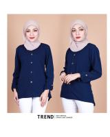 QA-857 - Stylish Long Sleeve Button Blouse Blue