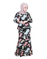 QA-864 - Stylish Adult Flora Baju Kurung Black