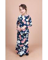 QA-865 - Stylish Kids Flora Baju Kurung Blue