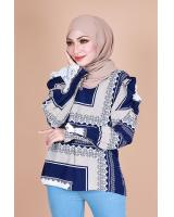 QA-866 - Fashion Long Sleeve Vintage Blouse Blue