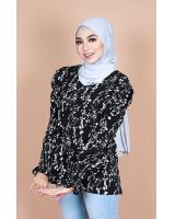 QA-867 - Stylish Puff Sleeve Flora Blouse Black
