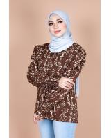QA-867 - Stylish Puff Sleeve Flora Blouse Brown