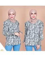 QA-867 - Stylish Puff Sleeve Flora Blouse OliveGrey