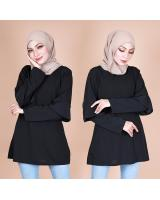QA-870 - Fashion Dual Sleeve Classic Blouse Black