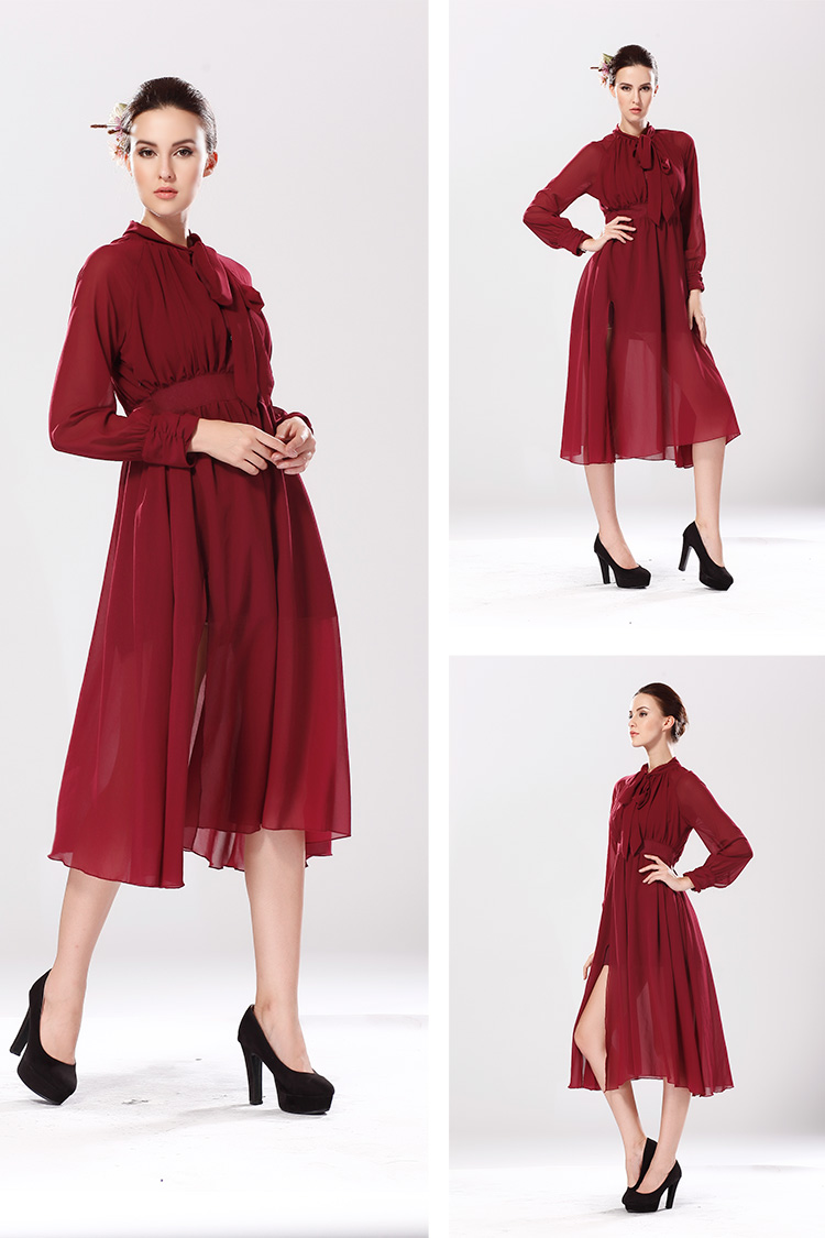 WD5092 Stylish Chiffon Dress Dark Red
