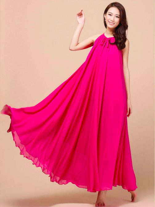 WD5469 Elegant Long Dress Dark Pink