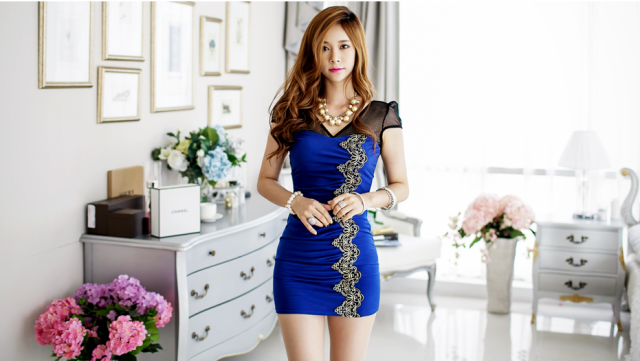 WD5782 Sexy Fashion Dress Blue