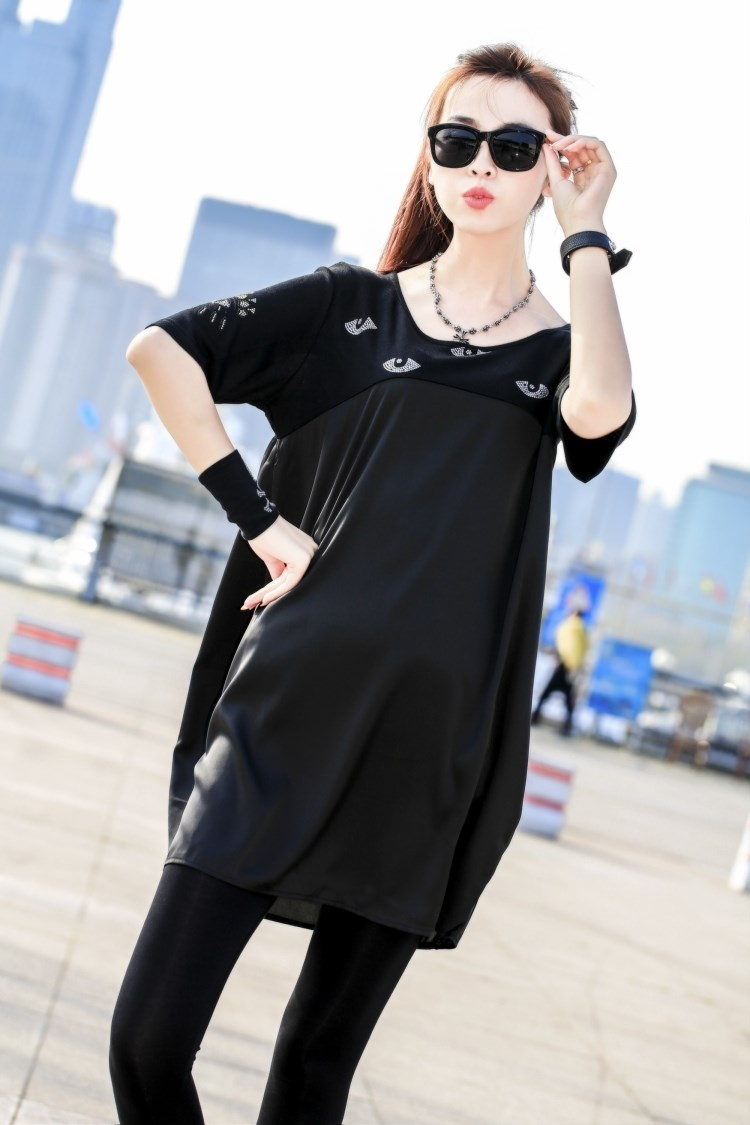 WT5786 Fashion Long Top Black