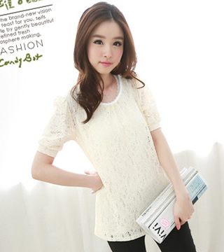 WT5801 Lace Top Almond
