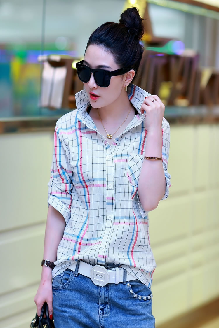 WT5830 Fashion Collar Top Blue