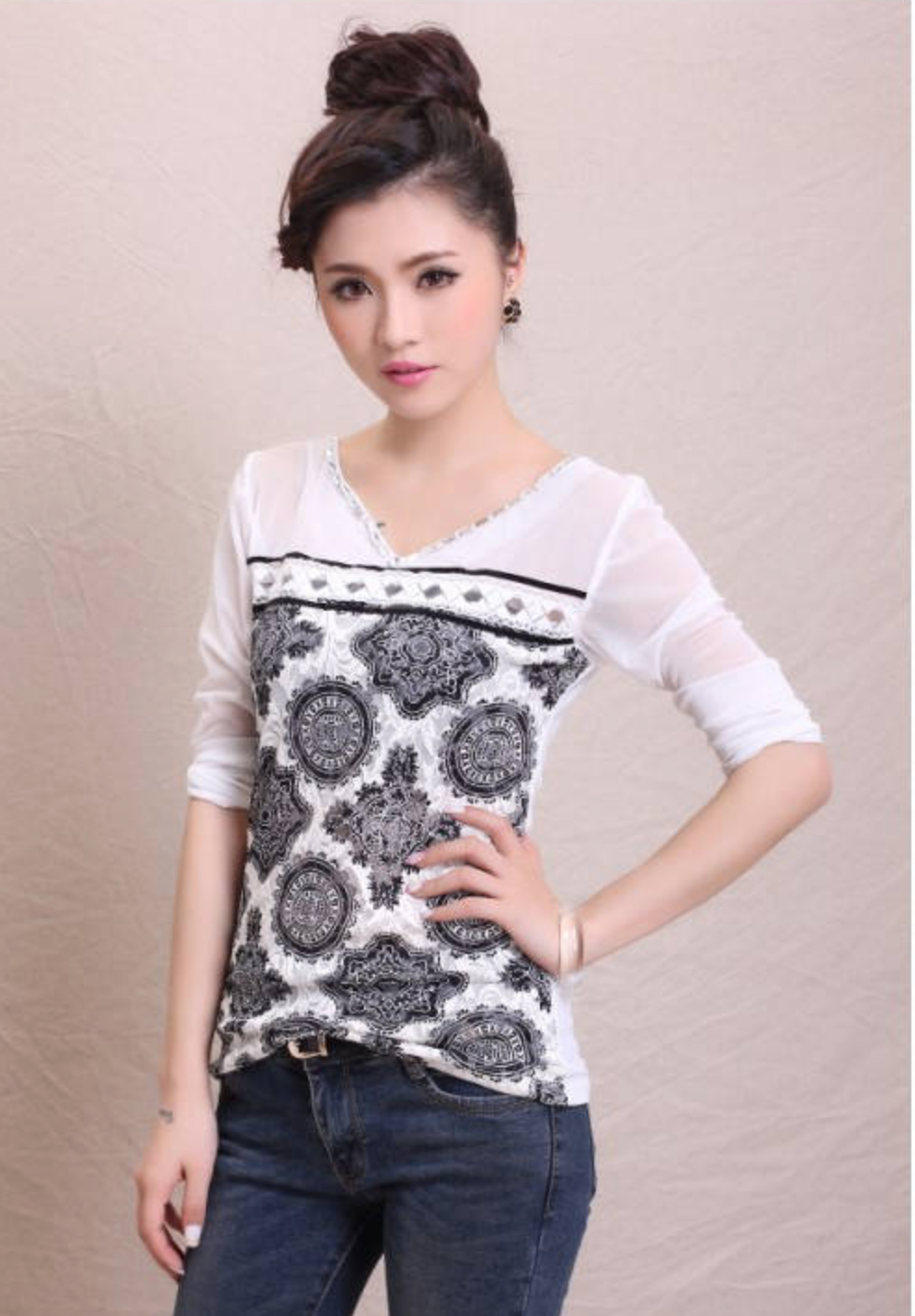 WT5836 Fashion Top White