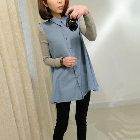 WT3530 Korea Fashion Top Blue