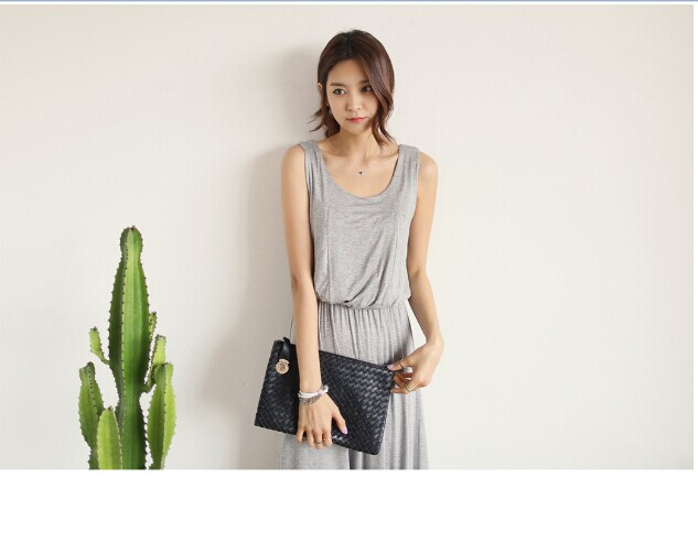 WD6109 Korea Stylish Long Dress Grey