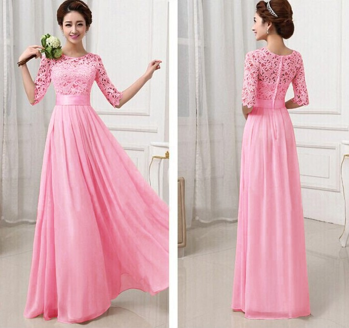 WD6259 Elegant Maxi Dress Dark Pink
