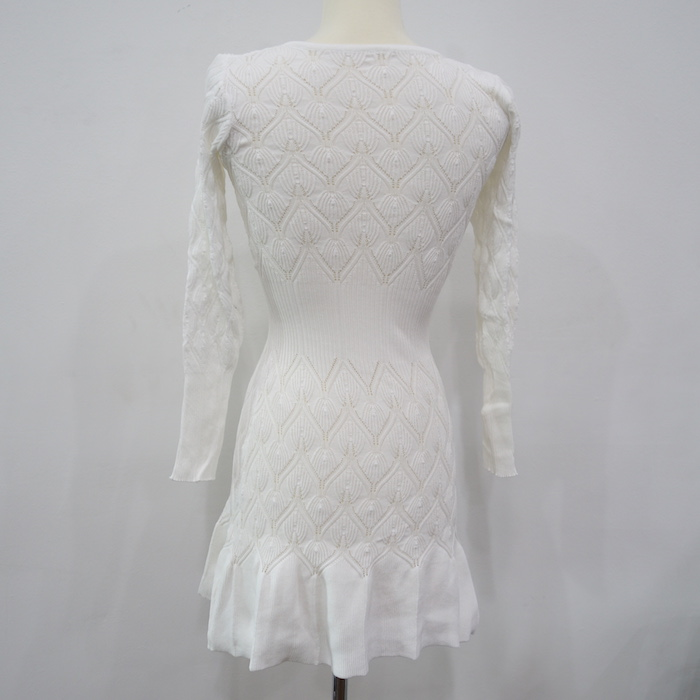 WD6653 Trendy Knit Dress White