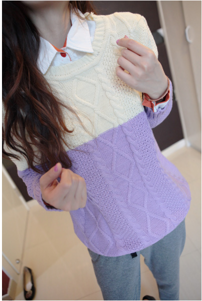 WT3614 Colourful Top Purple