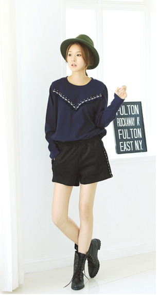 WT6786 Stylish Top Dark Blue