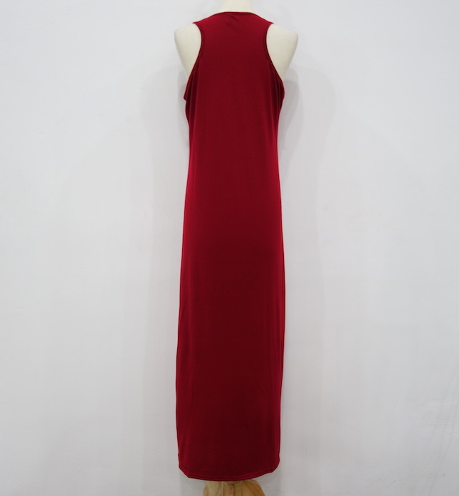 WD6798 Stylish Sleeveless Dress Maroon