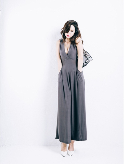 WP6808 Sexy Jumpsuit Grey