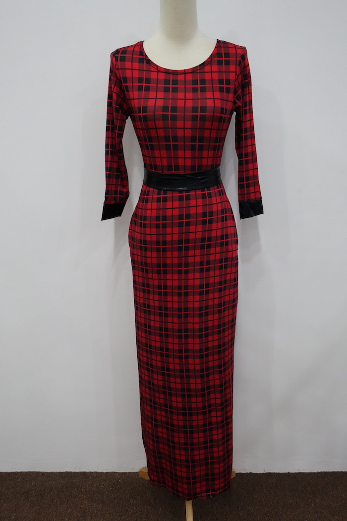 WD6990 Checker Maxi Dress Red