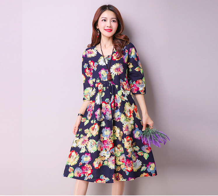 WD6994 Pretty Floral Dress Black