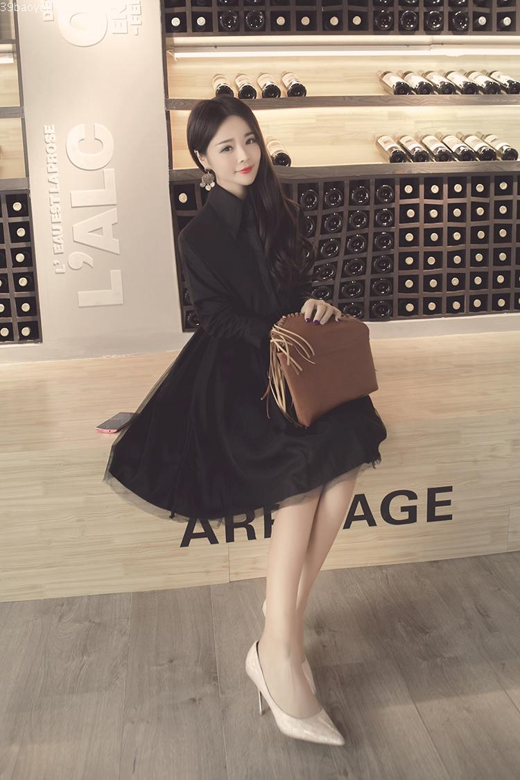 WD7015 Korea Lovely Dress Black