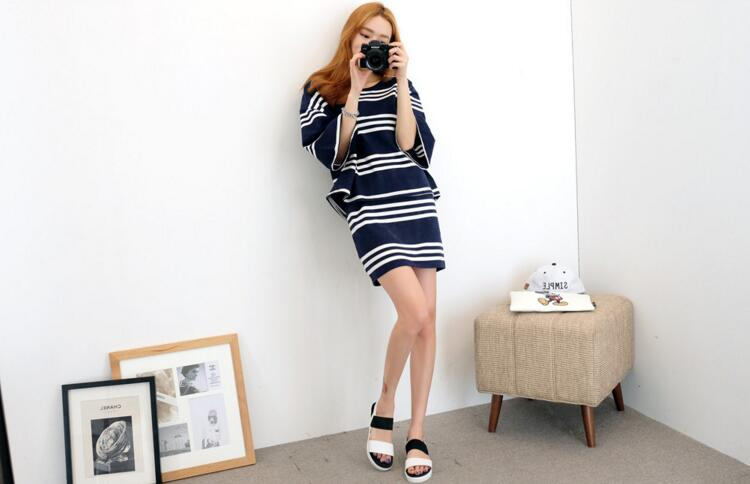 WT7078 Stripe Top and Skirt As Picture (1 Set)