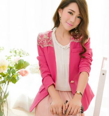 WJ3731 Korea Stylish Jacket Dark Pink