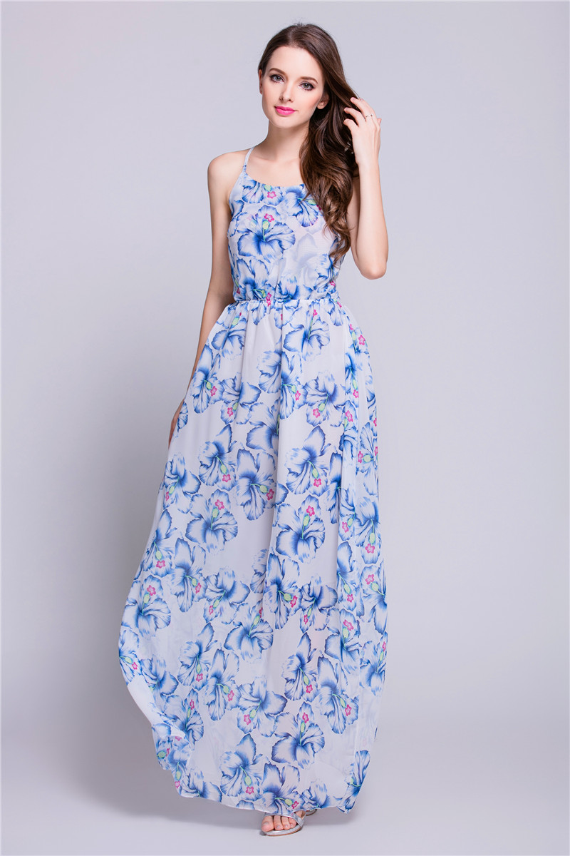 WD7140 Sexy Chiffon Maxi Dress Blue