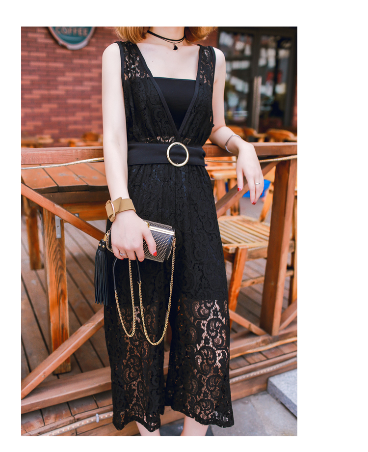 WP7162 Sexy Lace Jumpsuit Black
