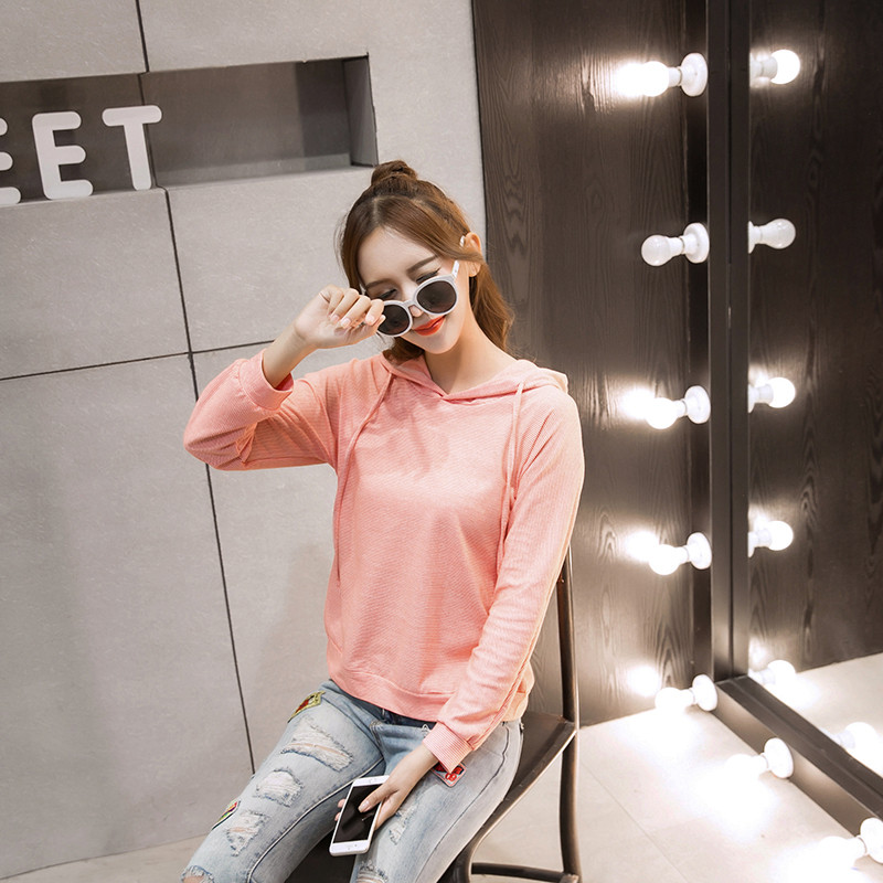 WT7264 Fashion Hooded Top Pink