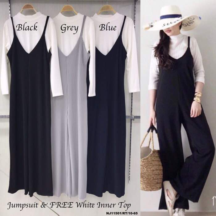 JW5008 Slit Jumpsuit & Top Set Grey