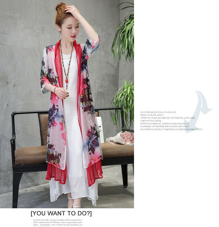 VW8213 Elegant Floral Cardigan Red