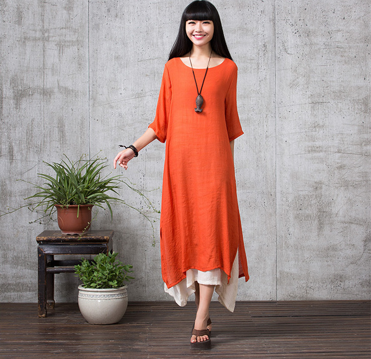 VW8214 Stylish Dress Orange