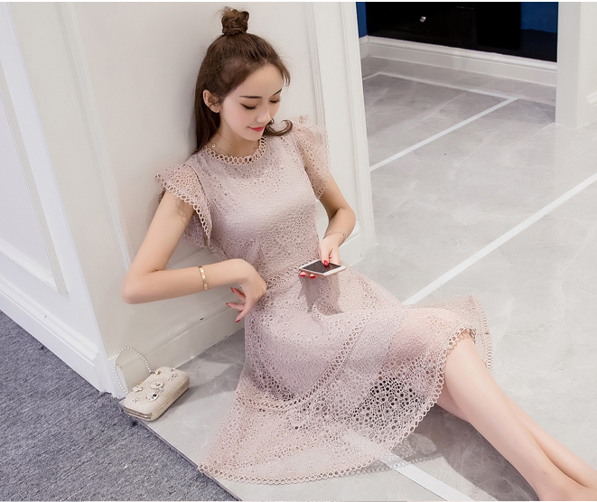 VW8448 Elegant Lace Dress Almond