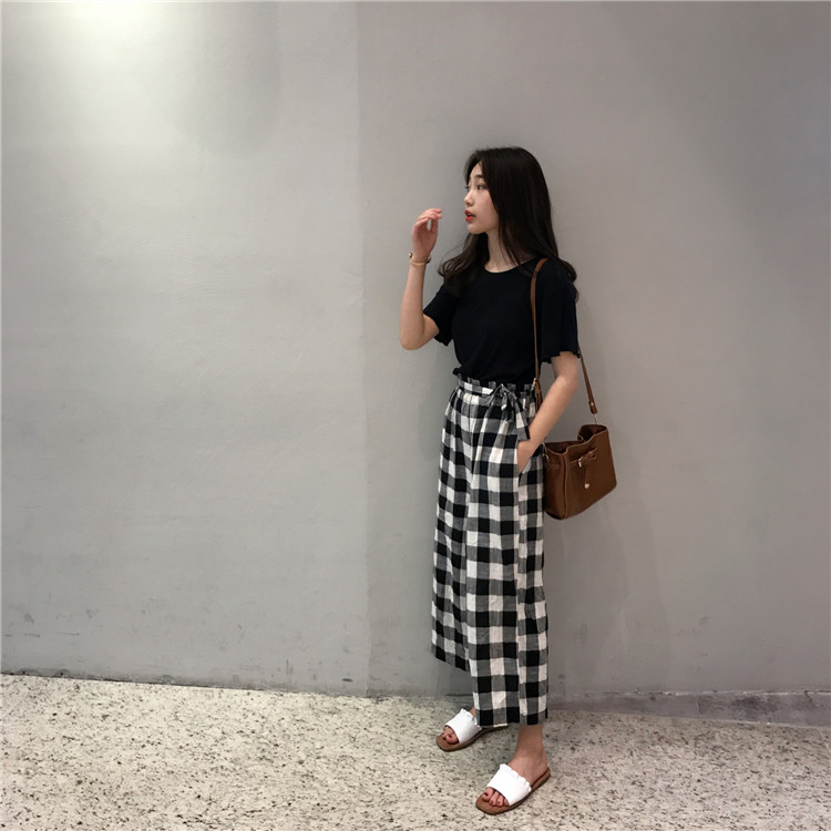 VW8463 Casual Checker Long Pant