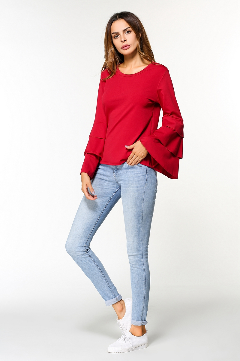 WT7606 Europe Fashion Top Red