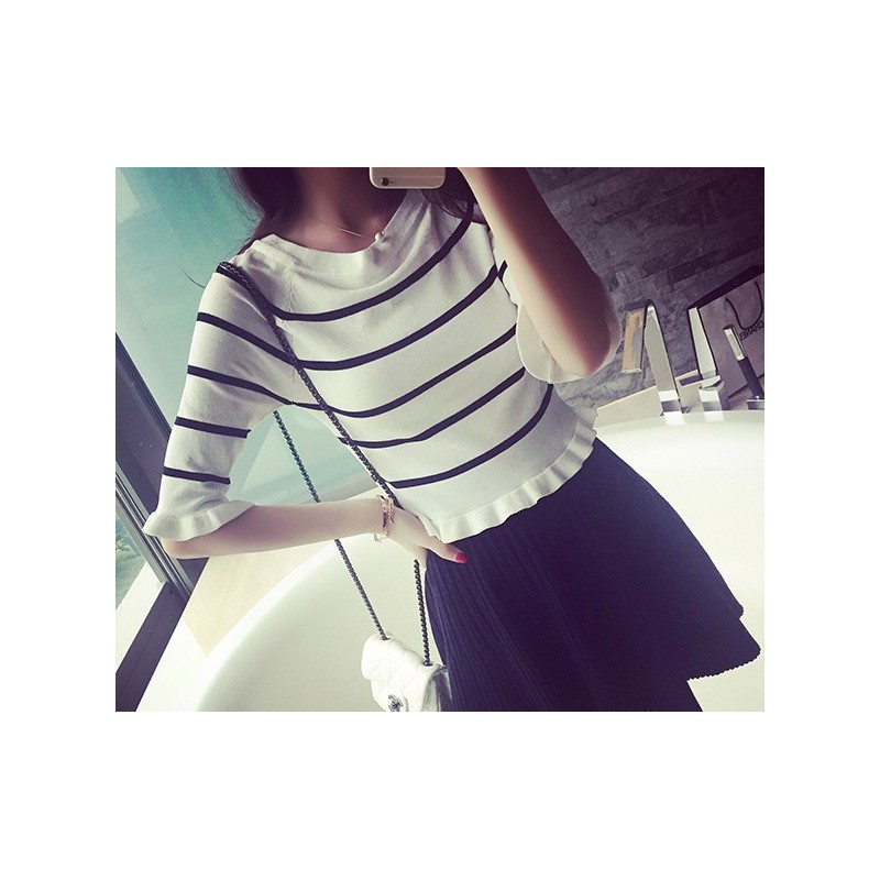 WT21072 Fashion Stripe Top White