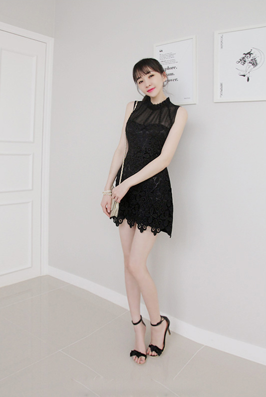 BM70296 Stylish Mini Dress Black