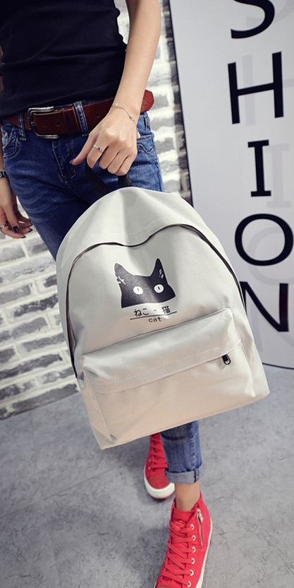 KW80259 Cute Cat Backpack Light Grey