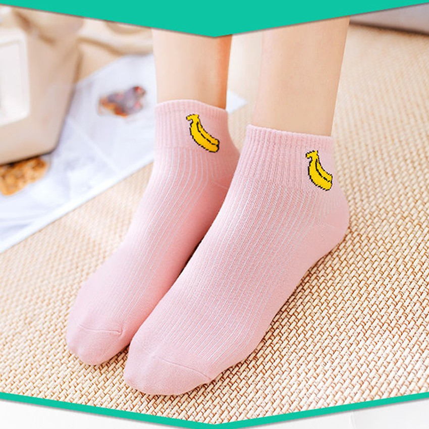 KW80652 ANKLE SOCKS PINK BANANA