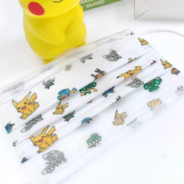 FM1002 WISDOM GRACE Kid Disposable Cartoon Design Kids 3 Ply Face MaskBFE99 PFE99 Premium Ear-Loop 50pcs Pokemon Pikachu