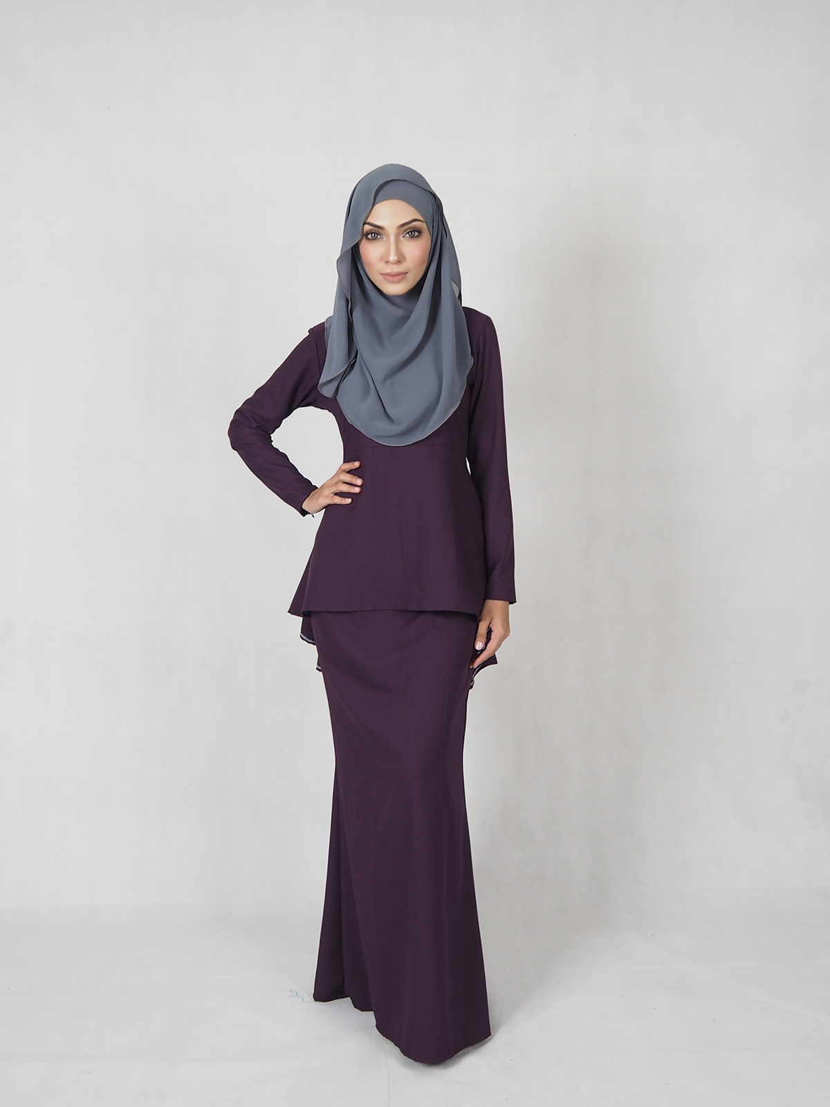 WT7706 Plus Size Baju Kurung Purple