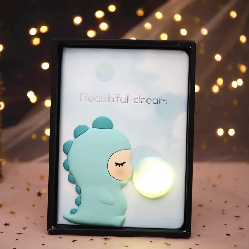 [Pink] 3D Led light Blue Little Dino Notepad/ Dairy
