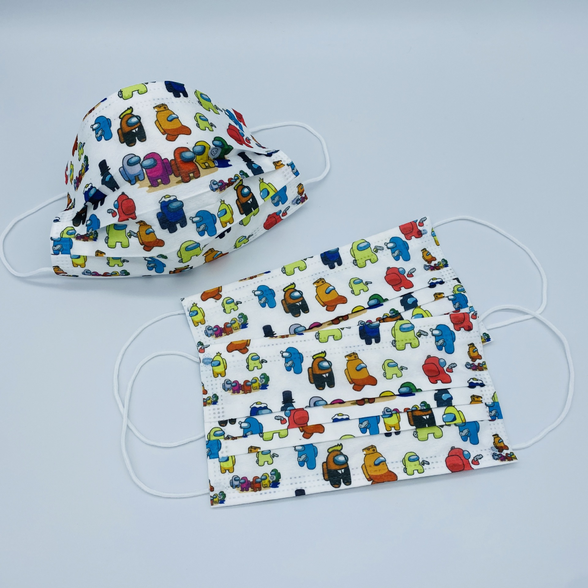 FM1006 Kid Disposable Cartoon Design Kids 3 Ply FaceMask Premium Ear-Loop 20pc Among Us Colourful